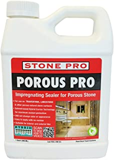 Stone Pro Porous Pro - Impregnating Sealer for Travertine, Limestone and all Porous Stone - 1 Quart