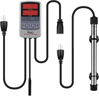 Hygger Saltwater Tank Titanium Tube Submersible Pinpoint Aquarium Heater with Digital Thermostat, IC Temp Controller 50-500 Watt