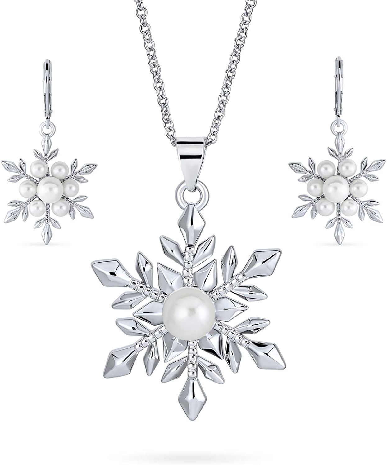 Christmas White Simulated Manufacturer regenerated product Pearl Snowflake Safety and trust Holiday Pendant Party