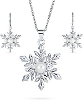 Christmas White Simulated Pearl Holiday Party Snowflake Pendant Necklace Earring Jewelry Set for Women Leverback Silver Pl...