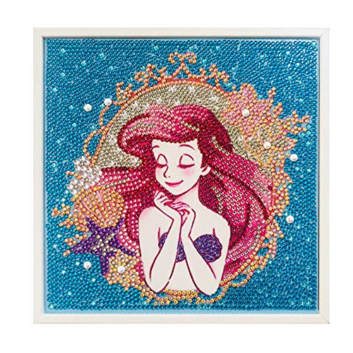 Pangoo Art Easy 5D Diamond Painting Kit for Kids, Beginners Full Drill Painting by Number Kits with Wooden Frame - Mermaid 8x8 Inches