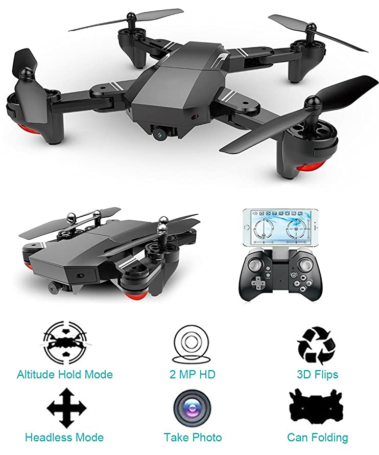 HIOTECH Drone Foldable Drone Mini WiFi Quadcopter Foldable with 2.0 MP HD 120° Wide Angle 720P Camera & LED Light & Phone Remote Control