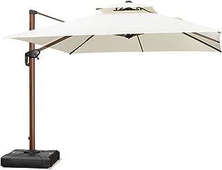PURPLE LEAF 10 Feet Double Top Deluxe Wood Pattern Square Patio Umbrella Offset Hanging Umbrella Outdoor Market Umbrella Garden Umbrella, Cream