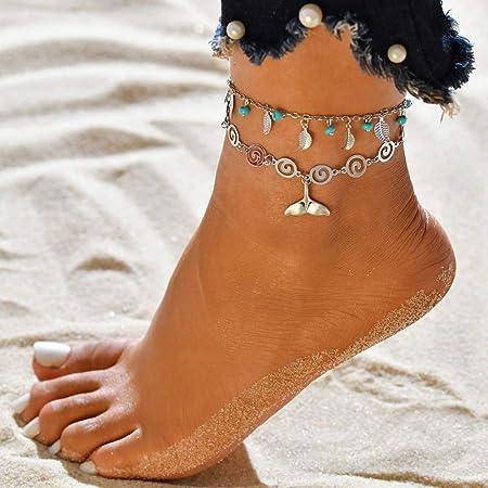 Sethexy Boho Layered Braccialetto alla caviglia Turchese Pendente Le foglie Catena del piede Multilayer Sirena Spiaggia di sabbia Piede Jewerly per donne e ragazze
