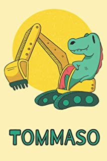 Tommaso: Excavator Dinosaur T-Rex Boys Name Dino Dinos Tommaso, Lined Journal Composition Notebook, 100 Pages, 6x9, Soft C...