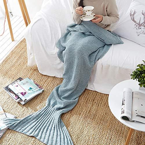 Lanqinglv Meerjungfrau Decke für Mädchen Erwachsene Hellblau Handgemachte Meerjungfrau Schwanz alle Jahreszeiten Schlafsack,Strickmuster Winter warme Flauschige weiche Decke (80 * 180cm,Hellblau)