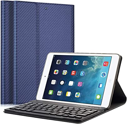 LUCKYDIY iPad Mini1 2 3 Bluetooth Tastatur H lle Keyboard Case Ultrad nn leicht SmartShell St nder Schutzh lle mit magnetisch Abnehmbarer drahtloser Deutscher Bluetooth Tastatur for iPad Mini
