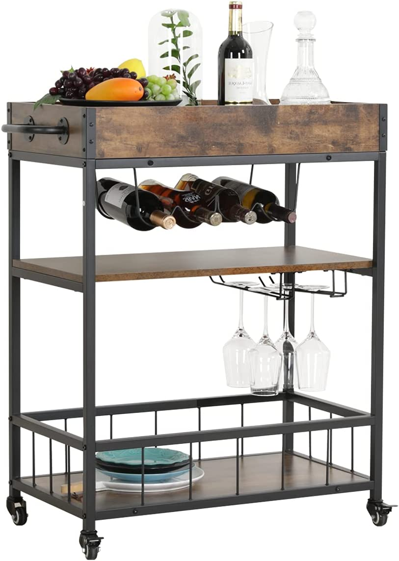 Erommy Bar Cart Kitchen Bar & Serving Cart for Home with 3 -Tier Storage Shelves Kitchen Island Cart, Removable Wood Tray, Metal Wine Rack Storage, Glass Holde