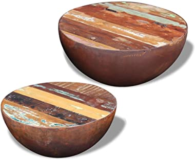 Daonanba Coffee Table Set of 2, Solid Reclaimed Wood, Bowl Shaped