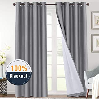 100% Blackout Curtains for Sliding Glass Door Thermal Insulated Grey Curtains Energy Saving 96 Inches Faux Silk Window Treatment Heavy-Duty Full Light Shading Drapes for Bedroom, 2 Panels