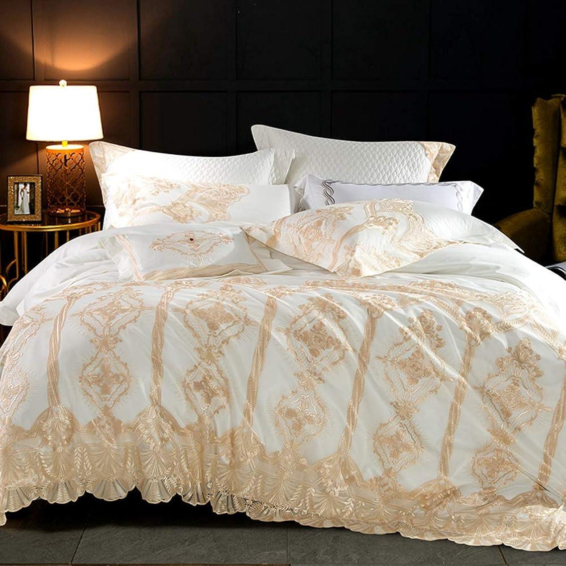計算雪等価ヨーロッパのレース 寝具 綿コットン 単色 プリンセス風 4 つの部分,キルトカバーベッド ベッドスカート ベッドカバー レーストリム弾性ベッド ラップ-a