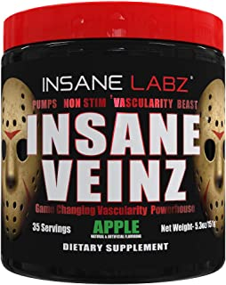 Insane Labz Insane Veinz Non Stimulant NO Enhancing Powder, Nitric Oxide Booster, Loaded with Agmatine Sulfate and Betaine Anhydrous, Increase Vascularity, 35 Srvgs, Apple