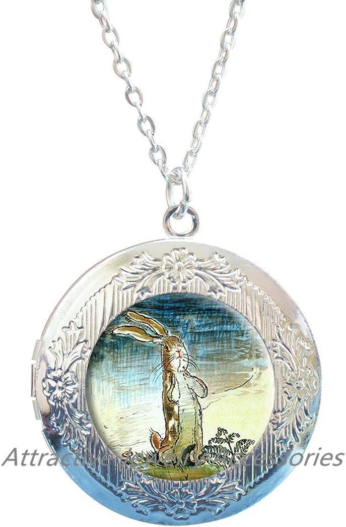 Rabbit, Easter, Child Locket Necklace, Fairytale, Rabbit Locket Necklace, Locket Necklace, Rabbit, Bunny Locket Necklace, Bunny, Locket Necklace Jewelry,QK037