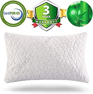 Casapre Shredded Memory Foam Pillow - Miracle Bamboo Pillow - Hypoallergenic Bamboo Pillowcase and Height Adjustable Design - Helps Relieve Insomnia Stress Anxiety - Better Sleep (White, King)