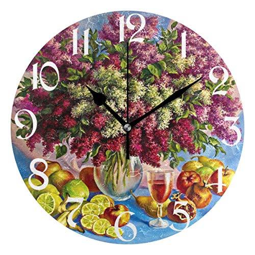 Jacque Dusk Reloj de Pared Moderno,Flores Vino Tinto Limón Girasol,Grandes Decorativos Silencioso Reloj de Cuarzo de Redondo No-Ticking para Sala de Estar,25cm diámetro