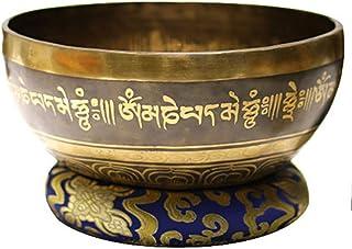 HJHJK Nepal Tibetan Sing Bowl Himalayan Buddhist Yoga Meditation Singing Bowl Fengshui Large Size Handmade Home Decor Tibe...