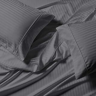 Royal Tradition Damask Striped 650 Thread Count Cotton Blend Top-Split-California King Sheet Set for Adjustable Beds (Grey...