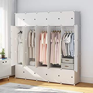 KOUSI Portable Closet Wardrobe Closet Room Closet with Doors Wardrobe with Storage Wardrobes for Bedrooms Portable Closet Wardrobe Bedroom Armoire, White, 10 Cubes + 5 Hanger