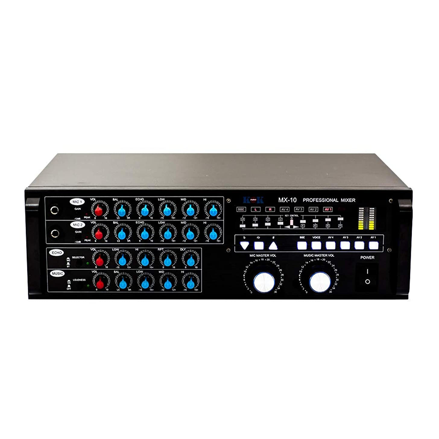 KOK Audio MX-10 PRO AUDIO STEREO SOUND KARAOKE MIXER. 3 Microphone Input with Individual Volume Controls and Echo On/Off Switches
