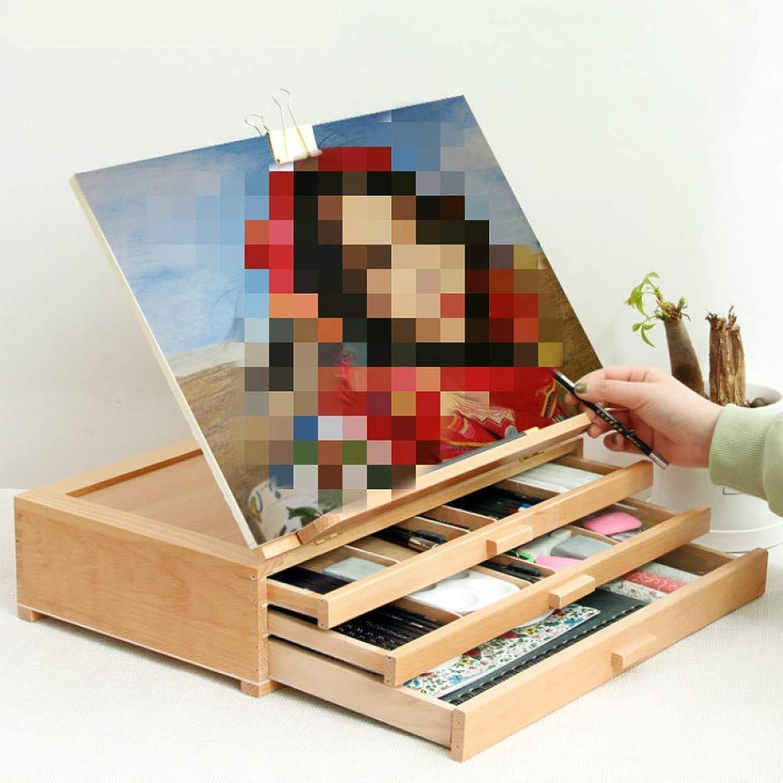 航空便枝誤ってWANGSENO 三層絵画木枠油絵水彩ガッシュイーゼルアーティスト調整可能な画材
