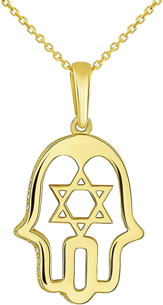 14K Yellow Gold CZ Hamsa Hand of God with Star of David Pendant Necklace