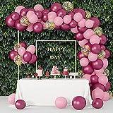 102 Piezas Globos de Látex Rosa Roja Dorado Globos de Látex Metalizados Globos Confeti de Fiesta para Bodas Ducha Nupcial Fiesta de Cumpleaños Fiesta Graduación Decoración