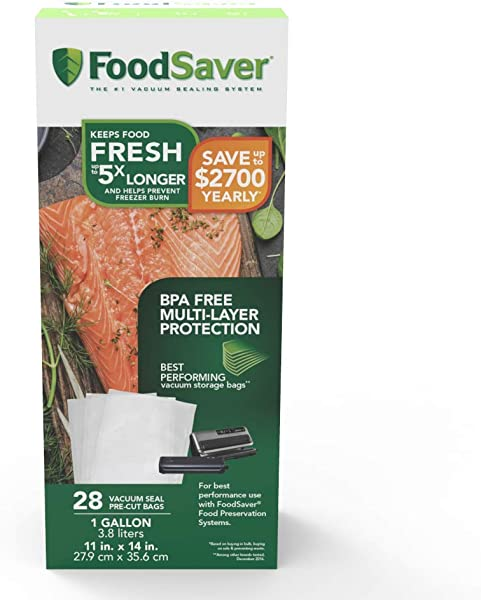 FoodSaver 1 Gallon Precut Vacuum Seal Bags With BPA Free Multilayer Construction For Food Preservation 28 Count