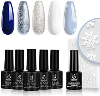 Beetles Christmas Gel Nail Polish Set- Glitter White Gel Polish Kit Soak Off LED Nail Lamp Blue Silver Gel Polish Gift wit...