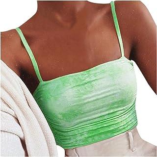 Allywit Women's Tie-Dye Gradient Crop Top Tank Top Sleeveless Strappy Cami Backless Base Vest