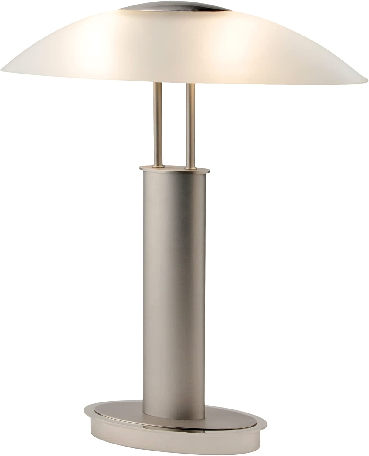 Artiva USA LED9476 Avalon Plus Modern 2-Tone Satin Nickel LED Touch Table Lamp with Oval Frosted Glass Shade, 18.5 , Brushed Steel