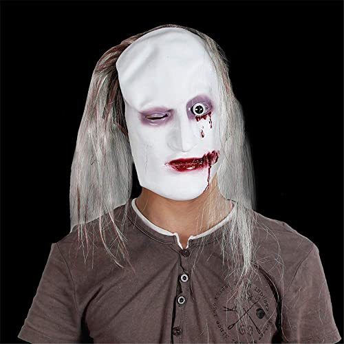 NUOKAI Halloween Grün Latex Horror Maske Leder Maske Ghost Maske Horror, braunes Haar Links Auge Ghost