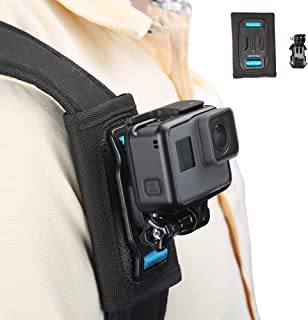 TELESIN Bag Backpack Shoulder Strap Mount with Adjustable Shoulder Pad, Strap Holder Attachment System for GoPro Hero 7 Hero 2018 Hero 6/5/4/3+, Session Polarorid Xiaoyi 4K 360 Camera Accessories