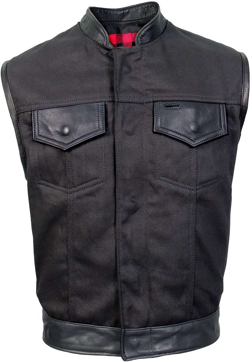 Hot Leathers VSM5101 Men's USA Made Denim and Leather Vest with Red Lining - Large
