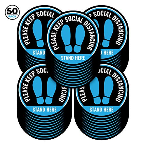 Set of 50 Blue Social Distance Floor Stickers, 12 Inch Diameter - Social Distancing Floor Decals - Easy to Remove, Waterproof - 6 Feet Floor Stickers Leaves Great for Schools, Offices, Retail Stores