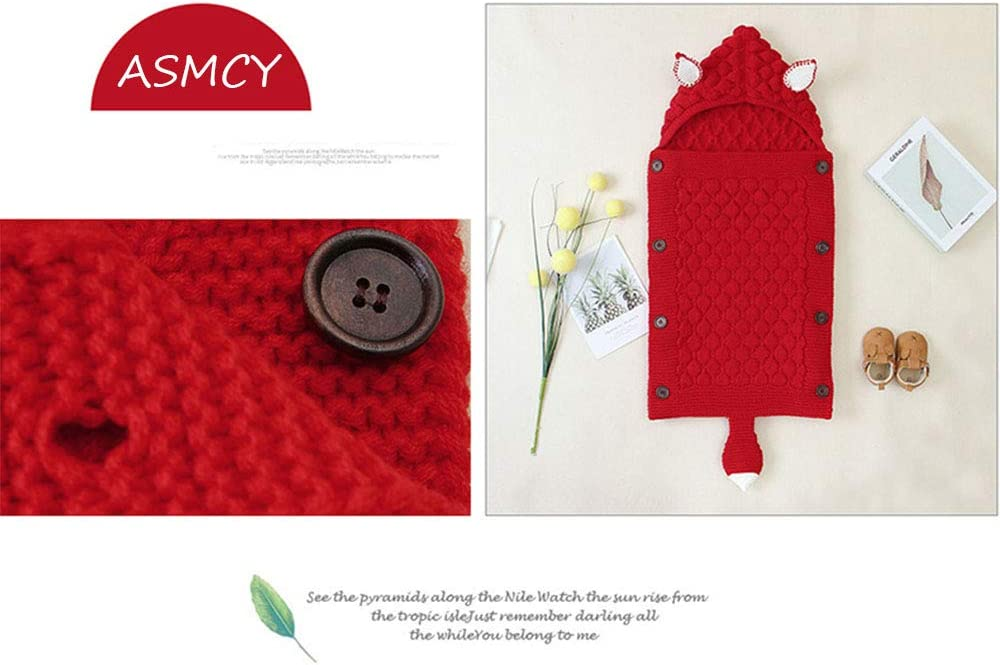 ASMCY Nouveau-né Couverture Emmaillotage, Épais Chaud Poussettes Tricoter Couverture, Ultraléger Doux Respirant Couverture Encapuchonné Sac de Couchage pour 0-12 Mois Bébé Red