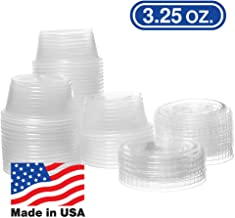 3.25 OZ Dart Clear Plastic Disposable Portion Cups, Jello Shot, Condiment, Sauce, Sample, Medicine, BPA Free, Made in USA (100 Cups with 100 Lids)