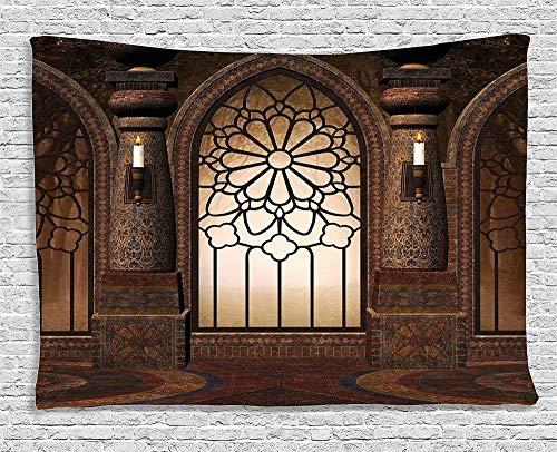 Yhjdcc Gotisches Dekor Tapisserie Bogenfenster mit floraler Schmiedeeisenkunst und Kerzen im mittelalterlichen Kirchenbild 150cm x 200 cm