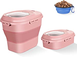 Gropecan Folding Sealed Pet Food Storage Container with Dog Food Bowl-35 Pound