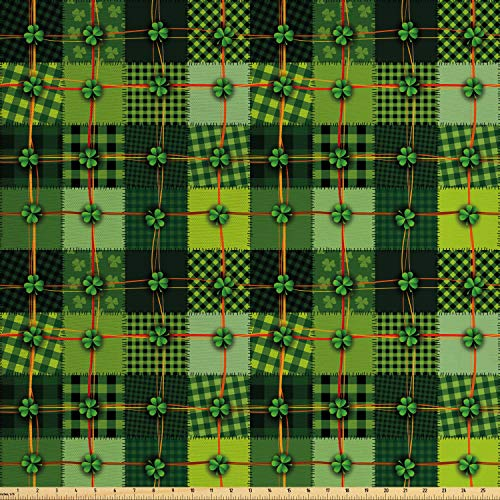 Ambesonne Irish Fabric by The Yard, Patchwork Style St. Patrick's Day Themed Celtic Quilt Cultural Checkered Clovers, Decorative Fabric for Upholstery and Home Accents, 1 Yard, Green Orange
