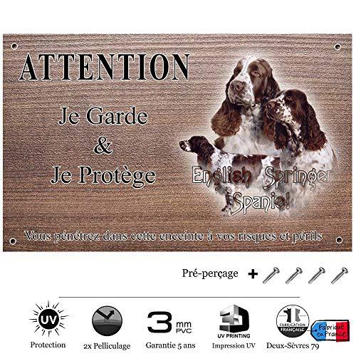 Pets-Easy.com Attention Chien de Garde personnalisée Springer Spaniel - pré percée et vis proposées. De 30 cm à 15 cm…