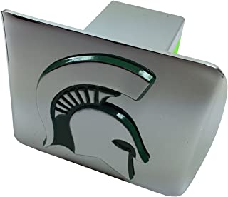 AMG Michigan State University Metal Emblem (Chrome with Green Trim) on Chrome Metal Hitch Cover