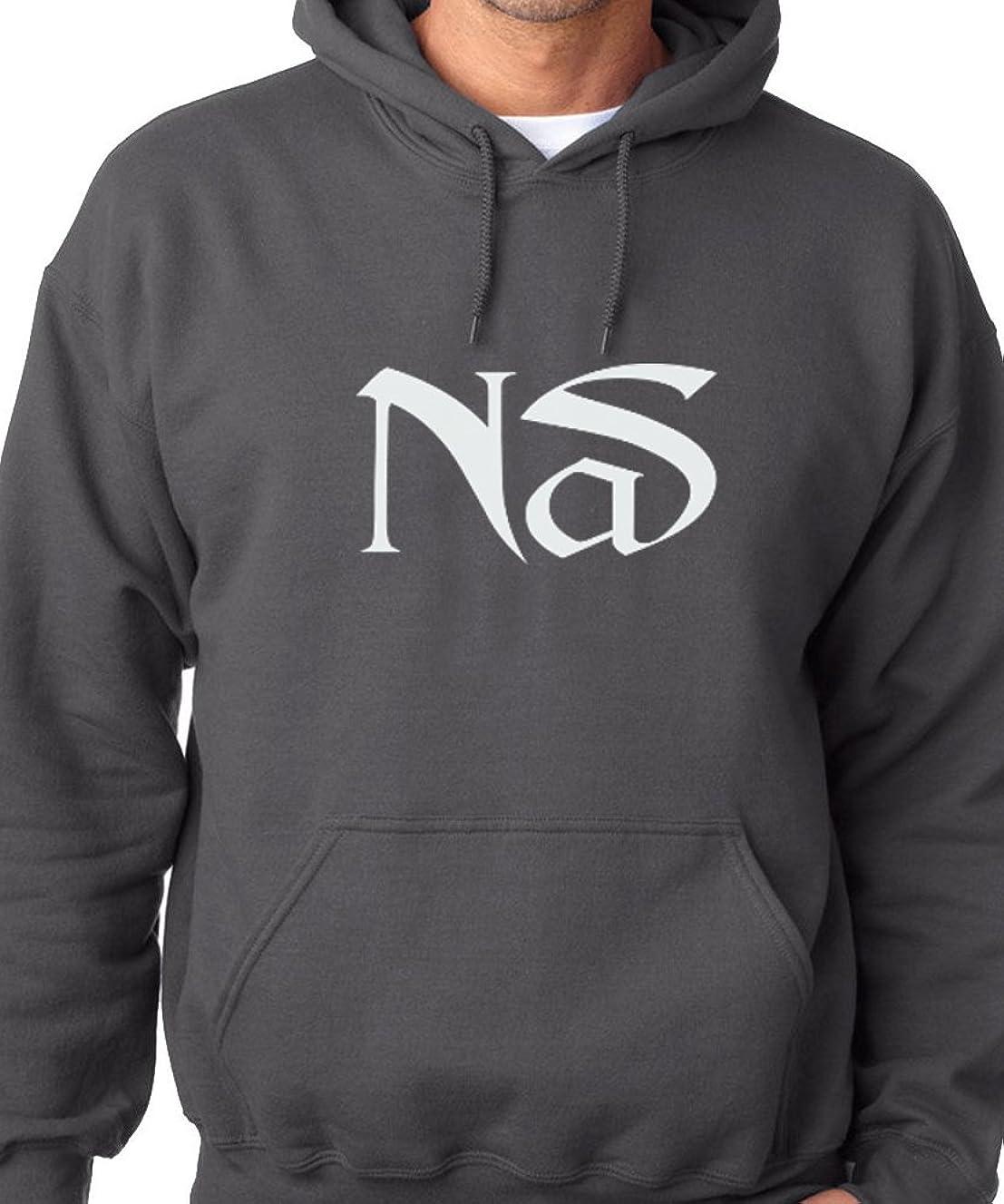 Nas Hip Hop Rap Sweatshirt Hoodie Classic Nasir Illmatic White Logo Charcoal (XL)