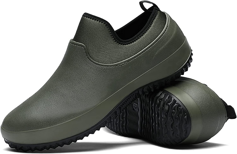 SANWNRU Rain Boots Men Shoes Kitchen Working Shoes Add Cotton Non-Slip Waterproof Chef Shoes Casual Unisex Work Shoes Water Shoes Rain Cotton Boots (Color : No Plush Green, Shoe Size : 7.5)