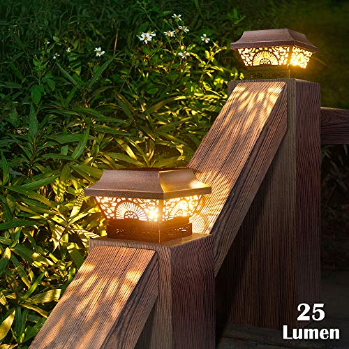DenicMic Fence Post Solar Lights 2 Pack - Solar Powered Post Cap Lights Outdoor Deck Warm White LED Lighting for 4x4 5x5 6x6 Wooden Posts, Patio, Garden, Porch Decorations (Copper)