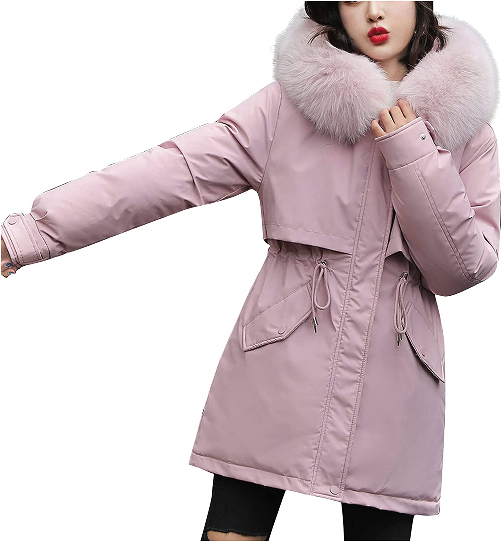 Women's Warm Thicken Down Coats Fur Hooded Zipper Puffer Jacket With Pockets Belted Waist Overcoat Casual
