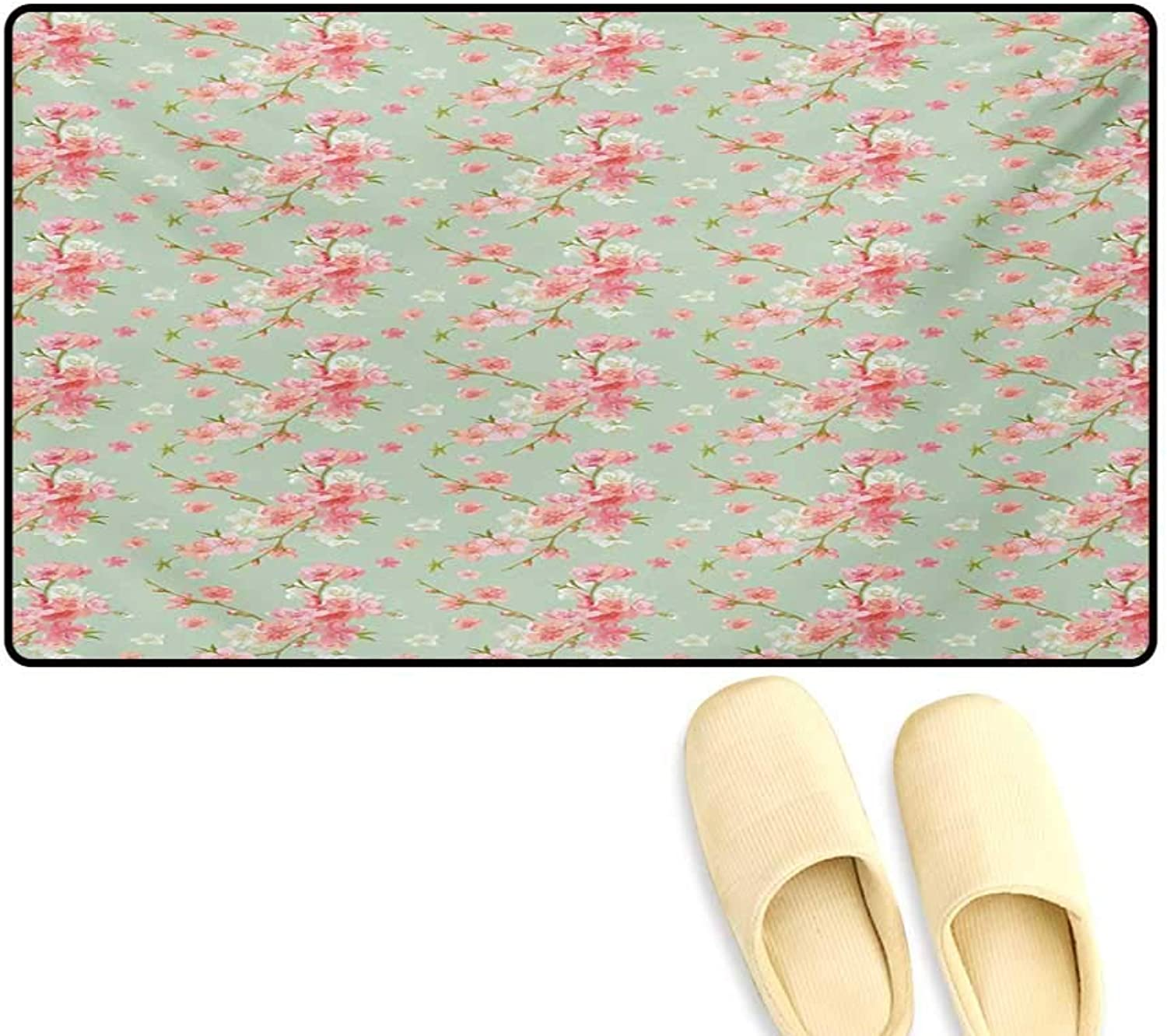 Door-mat,Retro Spring Blossom Flowers with French Garden Florets Garland Artisan Image,Bathroom Mat for Tub Non Slip,Mint Pink,24 x36
