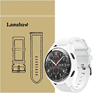 Gear S3 Frontier Band with Case, Shock-Proof and Shatter-Resistant Protective Case Cover with Silicone Sport Band for Samsung Gear S3 Frontier Smartwatch (White case with White Band)