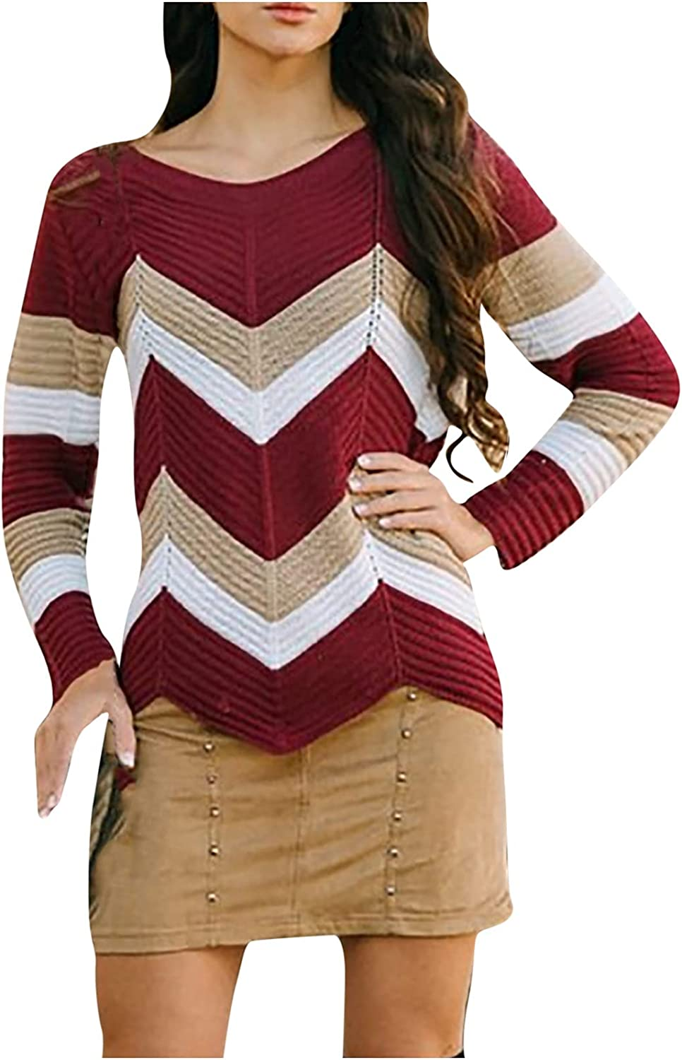 Women's Lightweight Pullover Sweater Long Sleeve Warm Crew Neck Casual Knit Oversized Loose Wave Color Block Tops