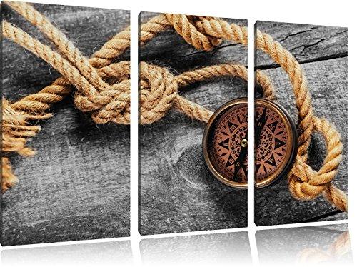 Pixxprint Schiffseil und Kompass / 3-Teilig/Gesamtmaß 120cm Leinwandbild bespannt auf Holzrahmen/Wandbild Kunstdruck Dekoration