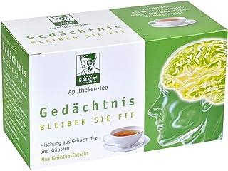 BADERs Apotheken-Tee Gedächtnis. Grüner Tee mit zusätzlichem Grüntee-Extrakt, Melisse und Ginkgo. Köstlicher Geschmack mit Pfirsicharoma. 20 Filterbeutel. PZN 001179490